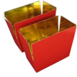 Pk-25 ballotin 500gram rood/goud 132x76x70mm glanzend laminaat+ rillijn